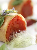 "Slug: FD/Vegetarian.Date: Feb 23th, 2005.Photographer: Mark Finkenstaedt FTWP.Location: Meastro Restaurant.  The Ritz Carlton. Tyson's Corner, VA.Caption: Chef ..1. Fennel  anise shot, napoleon of sour cream and fresh herbs...**** 2. Wheel of  red peppers, basil, blood orange, ""Laudato"" extra virgin olive  oil...3. Fontina  cheese fondue, quenelle of polenta Bergamasca, truffle-milk froth,  parsnips fritte, Norcia black truffle."