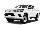 Stock pictures of low aggressive front three quarter view of 2016 Toyota Hilux GL 4 Door Pickup Low Aggressive