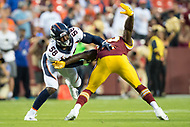 Landover, MD - August 24, 2018: Denver Broncos linebacker Von Miller (58) gets by Washington Redskins tight end Vernon Davis (85) during preseason game between the Denver Broncos and Washington Redskins at FedEx Field in Landover, MD. The Broncos defeat the Redskins 29-17. (Photo by Phillip Peters/Media Images International)