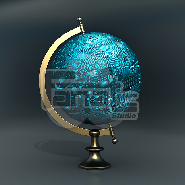 Conceptual shot of globe shaped computer circuit board representing global communications