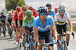 World Champion Alejandro Valverde (COL) and Green Jersey Nairo Quintana (COL) Movistar Team in the peloton during Stage 3 of La Vuelta 2019 running 188km from Ibi. Ciudad del Juguete to Alicante, Spain. 26th August 2019.<br /> Picture: Luis Angel Gomez/Photogomezsport | Cyclefile<br /> <br /> All photos usage must carry mandatory copyright credit (© Cyclefile | Luis Angel Gomez/Photogomezsport)