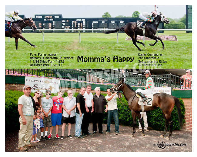 Momma's Happy winning at Delaware Park on 6/27/13