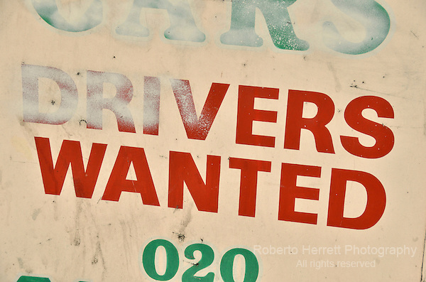 Old 'drivers wanted' sign