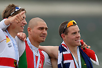 Ottensheim, AUSTRIA.  A  Final,  left Hegan ROTHE GER JM1X Silver Medallist BUL JM1X, Aleksandar ALEKSANDROV,  Gold medallist and Taylor WILZCYNSKI, Bronze Madallist, at the 2008 FISA Senior and Junior Rowing Championships,  Linz/Ottensheim. Saturday,  26/07/2008.  [Mandatory Credit: Peter SPURRIER, Intersport Images] Rowing Course: Linz/ Ottensheim, Austria