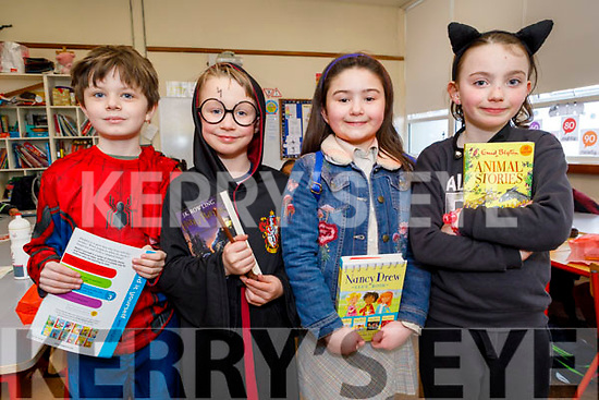 Moyderwell NS 2nd class students, Cameron Reidy Houlihan, Sofira Ekren, Jack Stack and Hannah Walsh dressed as their favourite book character at the school on Friday