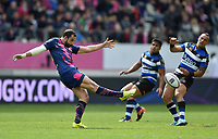 Geoffrey Doumayrou of Stade Francais puts boot to ball. European Rugby Challenge Cup Semi Final, between Stade Francais and Bath Rugby on April 23, 2017 at the Stade Jean-Bouin in Paris, France. Photo by: Patrick Khachfe / Onside Images