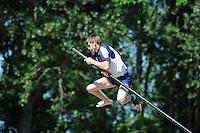 FIERLJEPPEN: JOURE: Accommodatie Koarte Ekers, Fierljepvereniging De Lege Wâlden Joure, 26-05-2012, 1e Klas wedstrijd, Junioren A, Jan Burghout, ©foto Martin de Jong