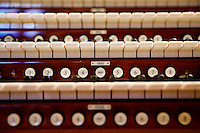 Keys of the rebuilt, digital pipe organ are shown after it was reassembled on the pulpit at St. Matthew's Church in Wheeling, West Virginia on July 27, 2015. (Jared Wickerham for the Boston Globe)