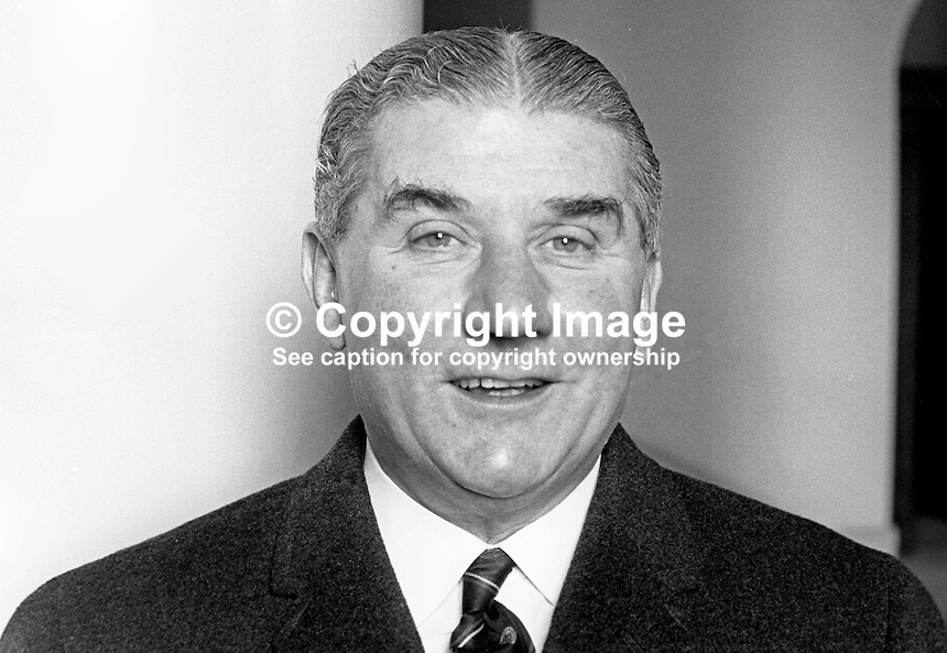 Mr R V Campbell, Ulster Unionist, candidate, Bangor, February, 1969, General Election, N Irealnd Parliament, Stormont, 196902000070<br /> <br /> Copyright Image from Victor Patterson, 54 Dorchester Park, Belfast, UK, BT9 6RJ<br /> <br /> t1: +44 28 9066 1296 (from Rep of Ireland 048 9066 1296)<br /> t2: +44 28 9002 2446 (from Rep of Ireland 048 9002 2446)<br /> m: +44 7802 353836<br /> <br /> e1: victorpatterson@me.com<br /> e2: victorpatterson@gmail.com<br /> <br /> The use of my copyright images is subject to my Terms &amp; Conditions.<br /> <br /> It is IMPORTANT that you familiarise yourself with them. They are available on my website at www.victorpatterson.com.<br /> <br /> None of my copyright images may be used on a website unless they are visibly watermarked, i.e. &copy; Victor Patterson within the body of the visible image. Metadata denoting my copyright must NOT be deleted. <br /> <br /> Web use (maximum size - 400 kb) is extra at currently recommended NUJ rates.