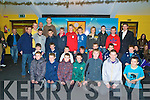 The Dr Crokes U14 East Kerry champions team pictured with Pat O'Shea, Johnny Brosnan, Colm Cooper and Eoin Brosnan as they received their medals in the clubhouse in Lewis Road, Killarney, on Saturday night.