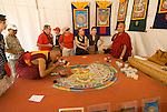 Washington DC; USA: Bhutanese monks make mandala as part of the Smithsonian's annual Folklife Festival in 2008.    .Photo copyright Lee Foster Photo # 18-washdc82375