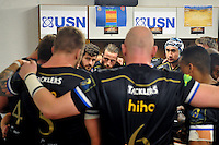 The Bath Rugby team huddle together in the changing rooms prior to the match. European Rugby Champions Cup match, between RC Toulon and Bath Rugby on January 10, 2016 at the Stade Mayol in Toulon, France. Photo by: Patrick Khachfe / Onside Images