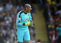 Heurelho Gomes  of Watford reacts   during the Barclays Premier League match Watford and Swansea   played at Vicarage Road Stadium , Watford