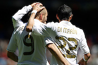 29.04.2012 SPAIN -  La Liga matchday 36th  match played between Real Madrid CF vs Sevilla Futbol Club (3-0) at Santiago Bernabeu stadium. The picture show  Karim Benzema (French Forward of Real Madrid) and  Angel di Maria (Argentine midfielder of Real Madrid) celebrating his team's goal