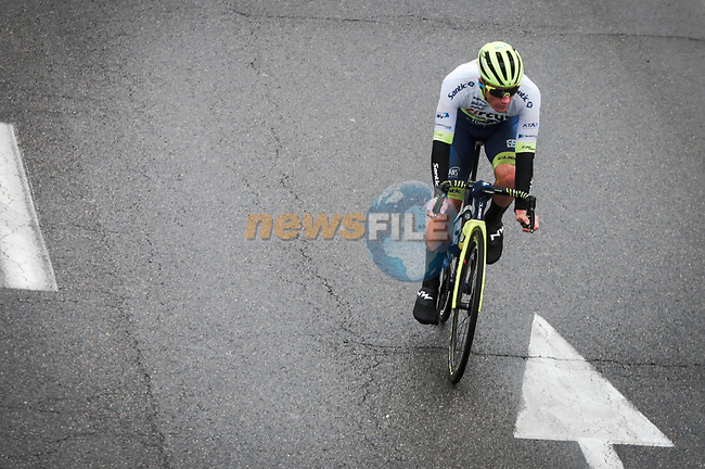 Tom Devriendt (BEL) Circus-Wanty Gobert Ecart out front during Stage 3 of the 78th edition of Paris-Nice 2020, running 212.5km from Chalette-sur-Loing to La Chatre, France. 10th March 2020.<br /> Picture: ASO/Fabien Boukla | Cyclefile<br /> All photos usage must carry mandatory copyright credit (© Cyclefile | ASO/Fabien Boukla)