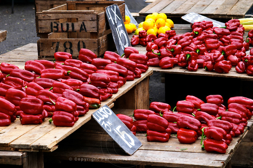 A street market stall selling red bell peppers bellpepper called Lujo. Montevideo, Uruguay, South America