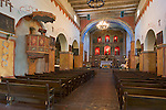 San Juan Bautista, CA<br /> Old Mission San Juan Bautista (1797), interior view of alter and sanctuary with pulpit on side wall