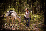 A woman walks her horse down a path in the woods on a warm summer day.