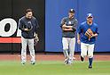 (L-R) Masahiro Tanaka, Hiroki Kuroda (Yankees), Daisuke Matsuzaka (Mets),<br /> MAY 15, 2014 - MLB :<br /> Masahiro Tanaka of the New York Yankees tips his cap to Daisuke Matsuzaka of the New York Mets as he leaves Masahiro Tanaka and Hiroki Kuroda during practice before the Major League Baseball game at Citi Field in Flushing, New York, United States. (Photo by AFLO)