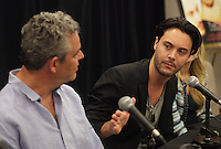 August 25 2012 - Montreal (Qc) CANADA -  News Conference for TWO JACKS with Danny Huston, actor  (L), his son Jack Huston, actor and Julia Verdin, producer.<br /> <br /> TWO JACKS is in the Official Competien of Montreal World Film Festival that run til September 3, 2012.<br /> <br /> Danny Huston is the son of filmmaker John Huston