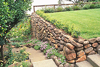 Stone retaining wall and steps in garden