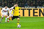 09.03.2019, Signal Iduna Park, Dortmund, GER, 1.FBL, Borussia Dortmund vs VfB Stuttgart, DFL REGULATIONS PROHIBIT ANY USE OF PHOTOGRAPHS AS IMAGE SEQUENCES AND/OR QUASI-VIDEO<br /> <br /> im Bild   picture shows:<br /> Marco Reus (Borussia Dortmund #11) tritt zum Elfmeter an, <br /> <br /> Foto &copy; nordphoto / Rauch
