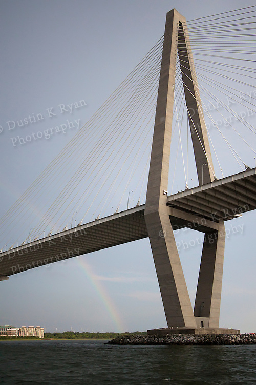 Arthur Ravenel Jr Bridge and Rainbow charleston South Carolina Cooper River Bridge some artifacting at 100%