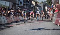 Luka Pibernik (SVN/Lampre-Merida) beats Mark Mcnally (GBR/Wanty-GroupeGobert) on the finish line<br /> <br /> 12th Eneco Tour 2016 (UCI World Tour)<br /> Stage 6: Riemst › Lanaken (185km)
