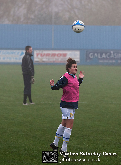 Leeds United Ladies 1 Nottingham Forest Ladies 1, 13/11/2011. Throstle Nest, FA Premier League National Division. Leeds United Ladies FC defender Amy Turner pictured heading the ball during a pre-match warm-up routine at the Throstle Nest, Farsley, West Yorkshire, on the day her club played host to Nottingham Forest Ladies FC in an FA Premier League National Division fixture. The match ended in a one-all draw, watched by fewer than 50 spectators at the club's regular home ground. Formed in 1989, Leeds United Ladies has been one of England's top women's sides for most of the last ten years and played in the top winter league for ladies' teams. Photo by Colin McPherson.