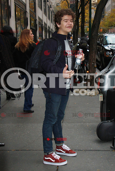 NEW YORK, NY - NOVEMBER 16: Gaten Matarazzo leaving NBC Studios promoting the 2nd season of Strange Things 2 in New York City on November 16, 2017. Credit: RW/MediaPunch /NortePHoto.com
