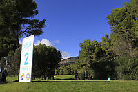 The 2nd tee during the Pro-Am of the Challenge Tour Grand Final 2019 at Club de Golf Alcanada, Port d'Alcúdia, Mallorca, Spain on Wednesday 6th November 2019.<br /> Picture:  Thos Caffrey / Golffile<br /> <br /> All photo usage must carry mandatory copyright credit (© Golffile | Thos Caffrey)