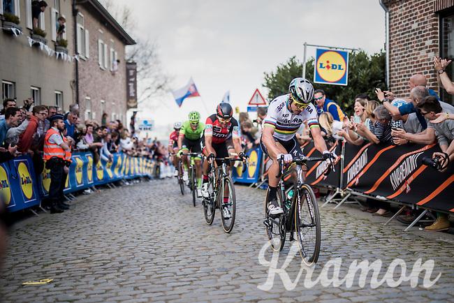 Peter Sagan (SVK/Bora-Hansgrohe) up the Oude Kwaremont shadowed all the way up by <br /> <br /> 101th Ronde Van Vlaanderen 2017 (1.UWT)<br /> 1day race: Antwerp &rsaquo; Oudenaarde - BEL (260km)