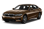 2019 BMW 3-Series-Sedan 330i-Sport-Line 4 Door Sedan Angular Front stock photos of front three quarter view