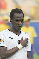 Ghana's Emanuel Agyemang-Badu (8) stands on the field before the game against Hungary at the FIFA Under 20 World Cup Semi-final match at the Cairo International Stadium in Cairo, Egypt, on October 13, 2009. Costa Rica won the match 1-2 in overtime play. Ghana won the match 3-2.