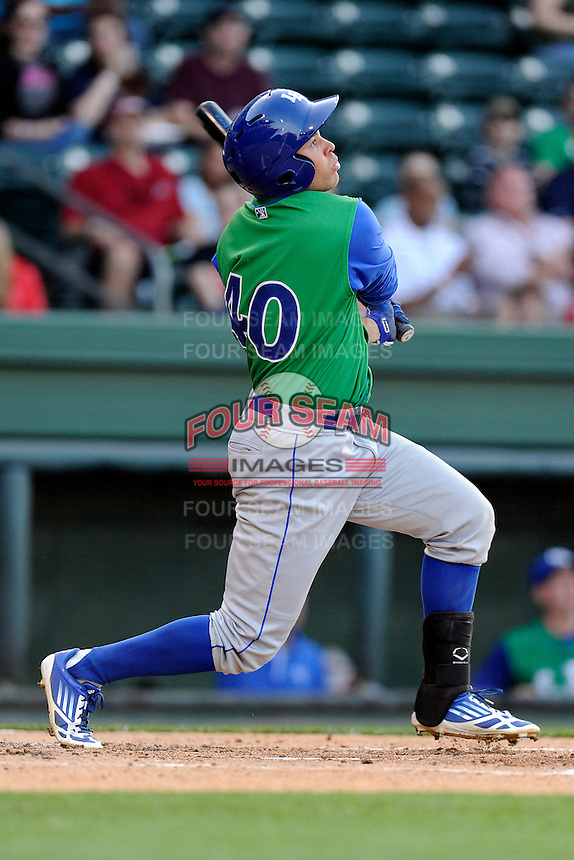 Left fielder Dominique Taylor (40) of the Lexington Legends bats in a game against the Greenville Drive on Thursday, April 24, 2014, at Fluor Field at the West End in Greenville, South Carolina. Greenville won, 9-4. (Tom Priddy/Four Seam Images)