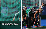 Glasgow 2014 Commonwealth Games<br /> Wales v England<br /> Wales line up to defend a penalty.<br /> Glasgow National Hockey Centre<br /> <br /> 24.07.14<br /> &copy;Steve Pope-SPORTINGWALES