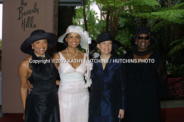 ©2003 KATHY HUTCHINS / HUTCHINS PHOTO AGENCY.THE ROWELL FOSTER CHILDREN'S POSITIVE PLAN.HIGH TEA AT THE BEVERLY HILLS HOTEL.BEVERLY HILLS, CA.JUNE 8, 2003.LYNN WHITFIELD.VICTORIA ROWELL.MRS. GRAY (SHARON) DAVIS, FIRST LADY OF CALIF. LA TONYA RICHARDSON (MRS. SAMUEL L. JACKSON).