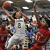 Robby Kennedy #2 of Northport, left, puts up a shot during a Suffolk II boys basketball game against Connetquot at Northport High School on Wednesday, Jan. 9, 2019.
