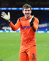 4th February 2020; Cardiff City Stadium, Cardiff, Glamorgan, Wales; English FA Cup Football, Cardiff City versus Reading; Sam Walker of Reading celebrates the 3-4 win after penalties