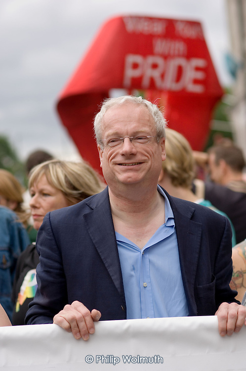 Chris Smith MP at the front of the London Gay Pride parade 2005.