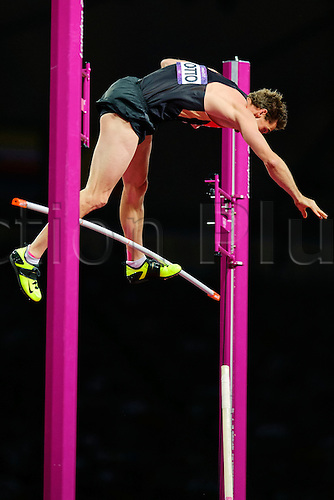 10.08.2012 London, England. Germanys Bjorn Otto (GER) wins the Silver medal with a clearance of 5.91 metres in the Mens Pole Vault Final during the Athletics on Day 14 of the London 2012 Olympic Games in the Olympic Stadium.