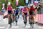 Hugh John Carthy (GBR) EF Education First, Vincenzo Nibali (ITA) Bahrain-Merida and race leader Maglia Rosa Richard Carapaz (ECU) Movistar Team cross the finish line at the end of Stage 16 of the 2019 Giro d'Italia, running 194km from Lovere to Ponte di Legno, Italy. 28th May 2019<br /> Picture: Gian Mattia D'Alberto/LaPresse | Cyclefile<br /> <br /> All photos usage must carry mandatory copyright credit (© Cyclefile | Gian Mattia D'Alberto/LaPresse)