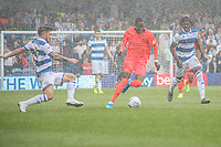 Huddersfield Town's Adama Diakhaby under pressure from  Queens Park Rangers<br /> <br /> Luke Brennan/CameraSport<br /> <br /> The EFL Sky Bet Championship - Queens Park Rangers v Huddersfield Town - Saturday 10th August 2019 - Loftus Road - London<br /> <br /> World Copyright © 2019 CameraSport. All rights reserved. 43 Linden Ave. Countesthorpe. Leicester. England. LE8 5PG - Tel: +44 (0) 116 277 4147 - admin@camerasport.com - www.camerasport.com