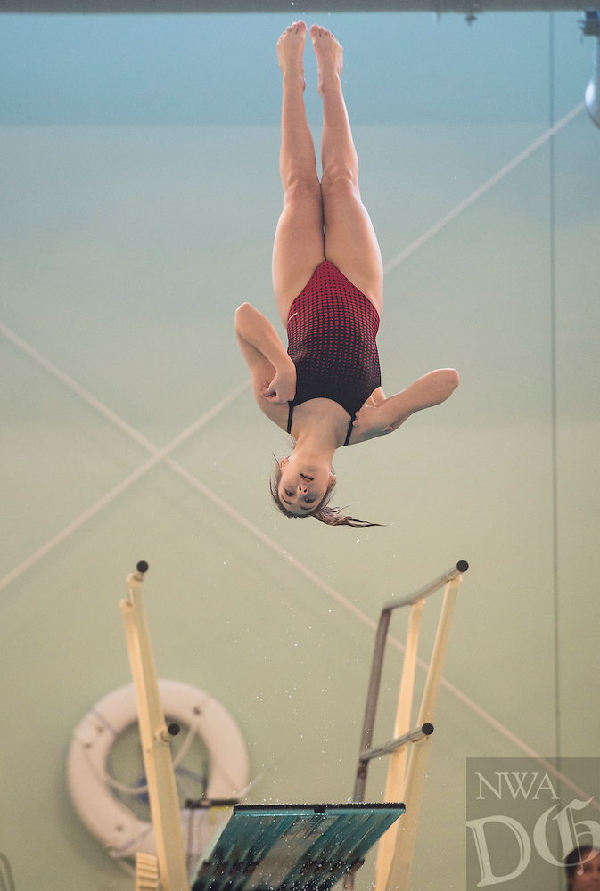 NWA Democrat-Gazette/ANTHONY REYES @NWATONYR<br /> Addison Trunick of Springdale during the Arkansas State Dive meet Friday, Feb. 24, 2017 at the Bentonville Community Center in Bentonville.