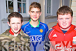 EXAMS: Students at Gaelchola?iste Chiarrai?, Tralee relax after completing English Paper One of the Junior Cert on Wednesday, l-r: Chris O'Sullivan, Conor O'Riordan and David Leahy.   Copyright Kerry's Eye 2008