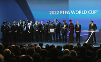 1st December 2010;  FIFA World Cup 2018 and 2022 Delegation Qatar with FIFA President Joseph Sepp Blatter, HE Sheikh Mohammed bin Hamad Al-Thani (Chairman of Bidding Qatar)  Emir von Katar and his wife.  On April 6th 2020, in addition to Ricardo Teixeira, the former president of the Brazilian Football Confederation and the now-deceased ex-COMNEBOL president Nicolas Leoz and a co-conspirator, two former Fox employees have been indicted as part of the investigation into corruption by US official, which claims that Russia and Qatar offered and paid bribes to secure votes in the process that saw them awarded the 2018 and 2022 World Cups,  an indictment in the United States alleges. The document, was brought by federal prosecutors in New York as part of the long-running investigation into corruption surrounding football's governing body