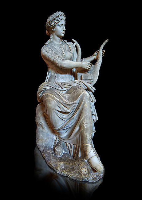 Roman stuate from the time of Hadrian of the muse Tersichore, inv 308, Vatican Museum Rome, Italy,  black background