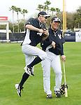 (L-R) Ichiro Suzuki,  Hideki Matsui (Yankees),<br /> FEBRUARY 21, 2014 - MLB :<br /> New York Yankees' Ichiro Suzuki and guest instructor Hideki Matsui during the New York Yankees spring training baseball camp at George M. Steinbrenner Field in Tampa, Florida, United States. (Photo by AFLO)
