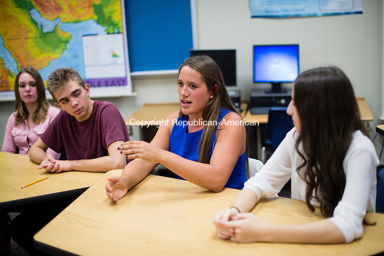 WASHINGTON, CT- 28 October 2015-102815EC01-  Haley Pesci, a senior at Shepaug Valley High School in Washington, sits in between Matthew Marchesc and Bianca Getzel. Erin Covey Republican-American
