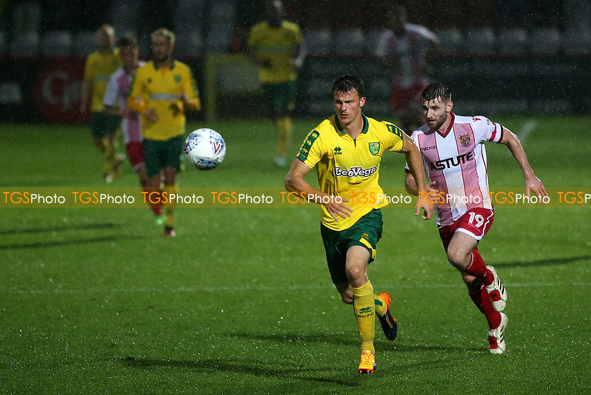 Dan Newton of Stevenage chases after the loose ball during Stevenage vs Norwich City, Friendly Match Football at the Lamex Stadium on 11th July 2017